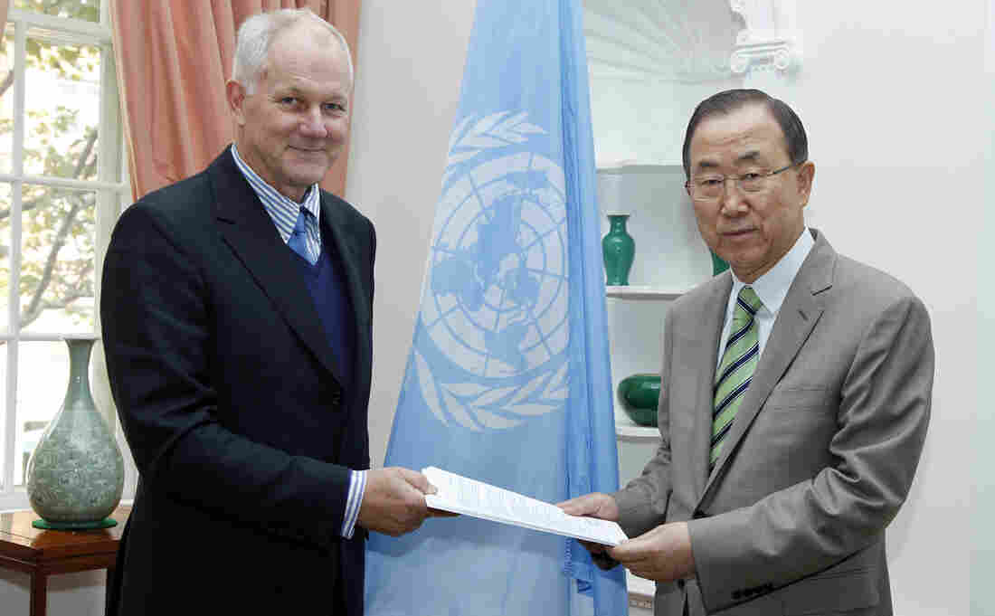 """U.N. Secretary-General Ban Ki-moon, who received the report on Syria's chemical weapons over the weekend from professor Ake Sellstrom, expressed his """"profound shock and regret"""" at its findings."""