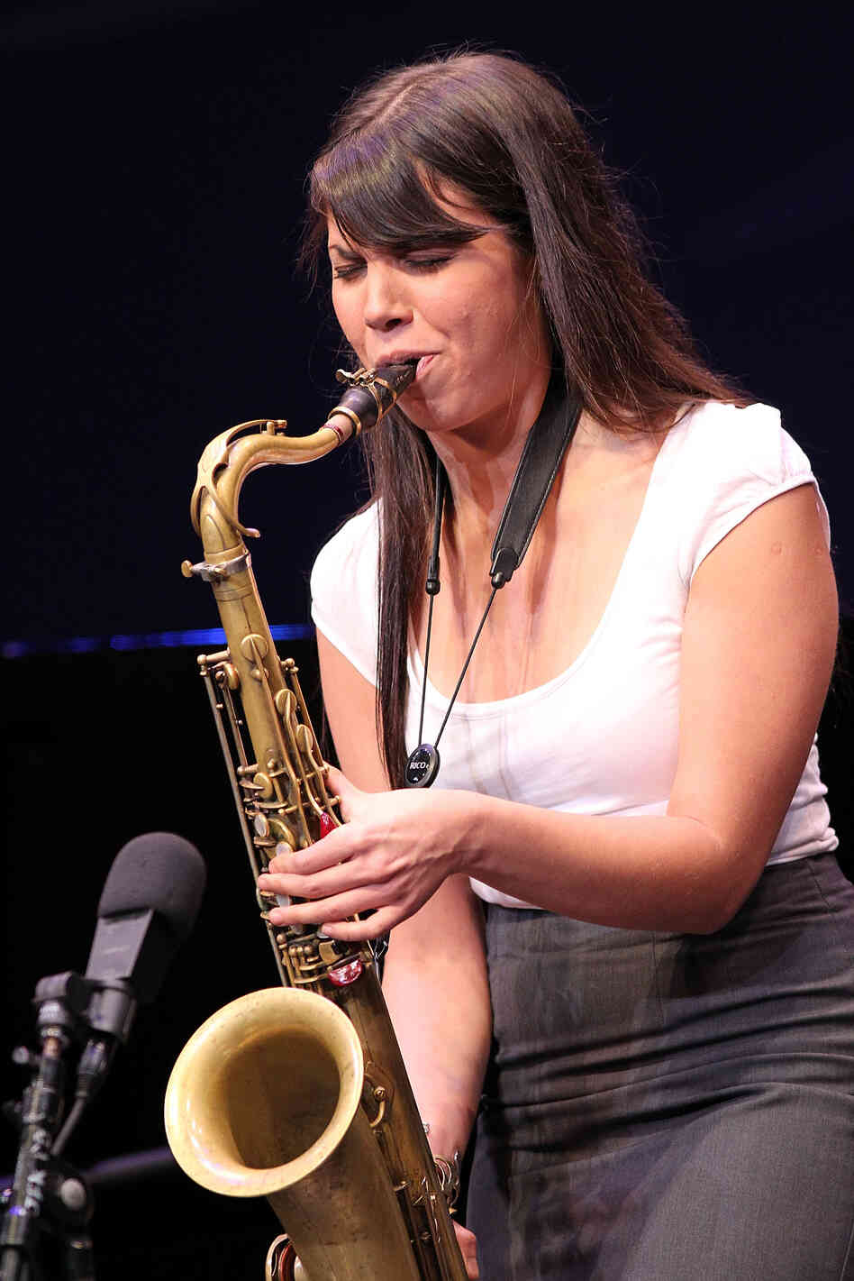 Melissa Aldana performs at the 2013 Thelonious Monk International Jazz Saxophone Competition at The John F. Kennedy Center for Performing Arts in Washington, D.C.
