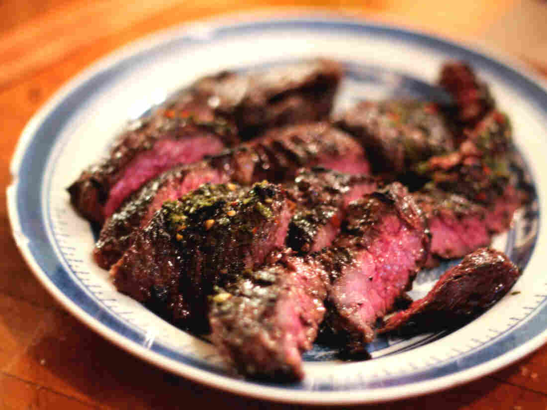 Grilled, Marinated Skirt Steak With Chimichurri Sauce