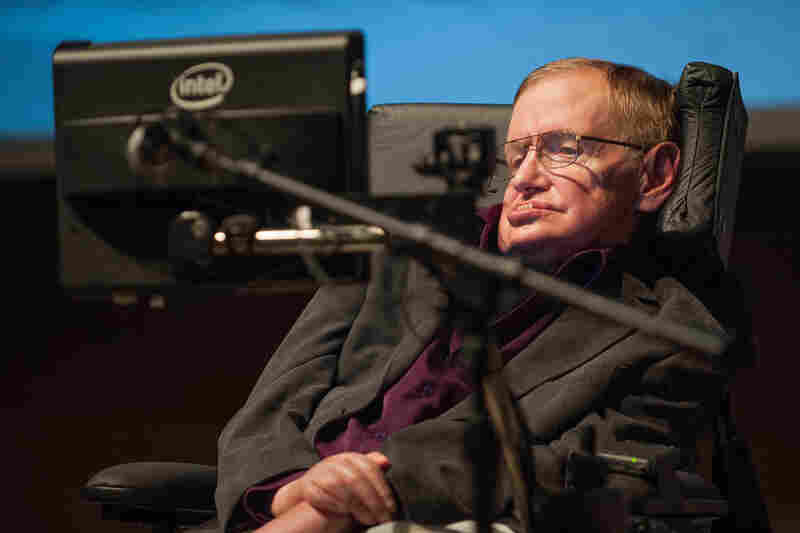 "Hawking gives a talk titled ""A Brief History of Mine,"" to workers at Cedars-Sinai Medical Center in Los Angeles on April 9, 2013."