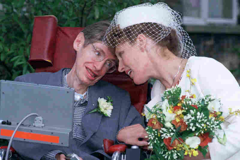 Hawking poses with his new wife Elaine Mason after they were married at Shire Hall in Cambridge on Sept. 15, 1995. Hawking, then 53, suffered from a crippling motor neuron disease. Mason was his former nurse, and her ex-husband David was the computer engineer who adapted the scientist's voice synthesizer so it would fit onto his wheelchair.