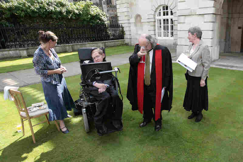 Hawking (2nd left) attends the 2008 honorary degree procession at Cambridge University on June 23, 2008. The University's Regent House approved the award of honorary doctorates to seven eminent persons from the worlds of religion, law, physics, industry, medicine, theater and music.