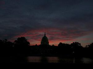 The U.S. Capitol at sunrise.