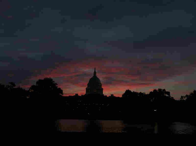 The U.S. Capitol at sunrise.