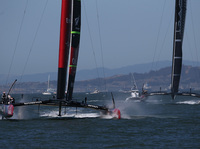 Emirates Team New Zealand and Oracle Team USA in action during Race 11 of the America's Cup finals on Wednesday in San Francisco.