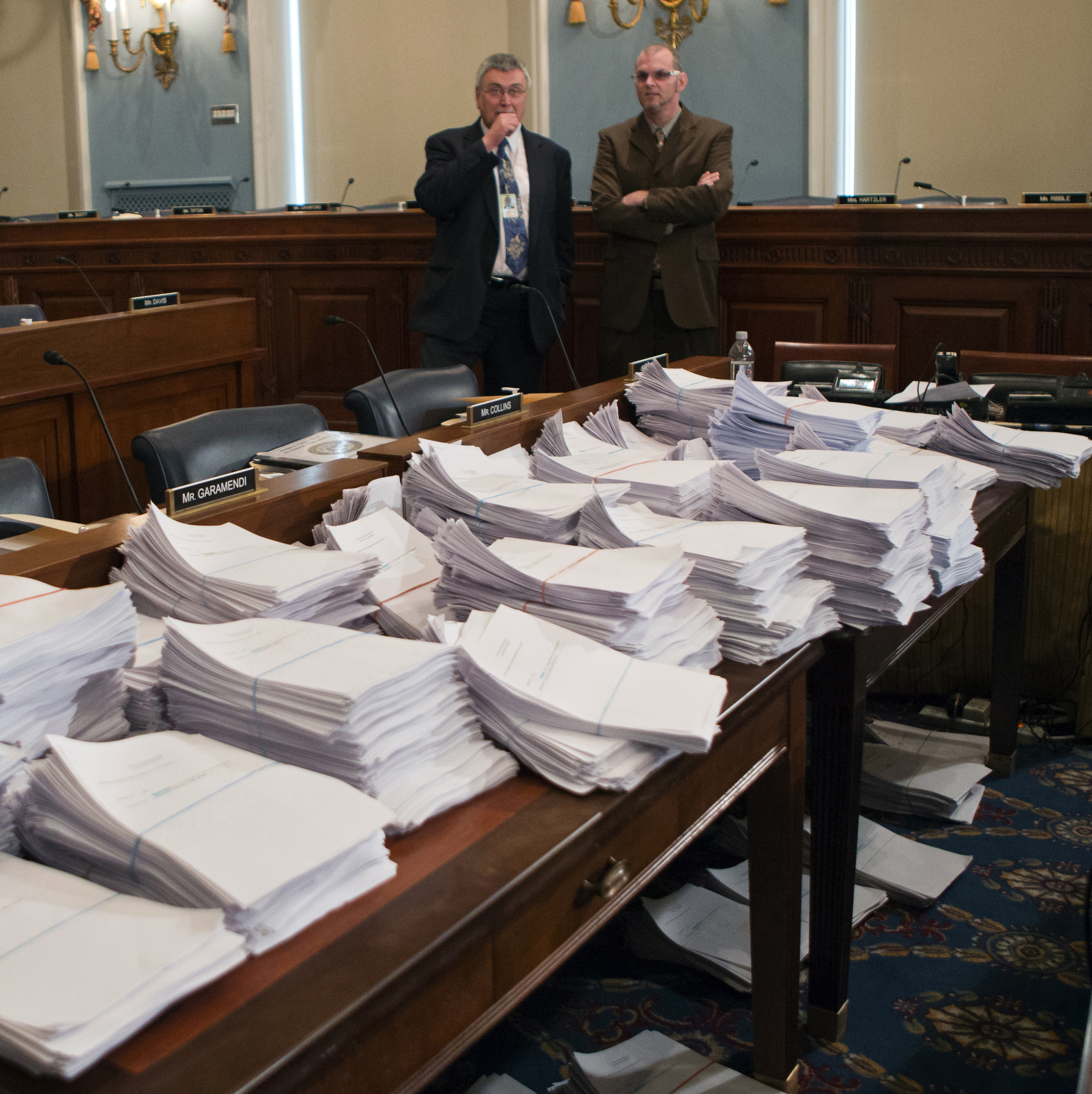 Stacks of paperwork awaited members of the House Agriculture Committee on Capitol Hill in May as they met to consider proposals to the 2013 Farm Bill.