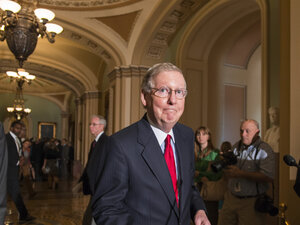 Senate Minority Leader Mitch McConnell, R-Ky., speaks to reporters following a Republican caucus at the Capitol Tuesday.