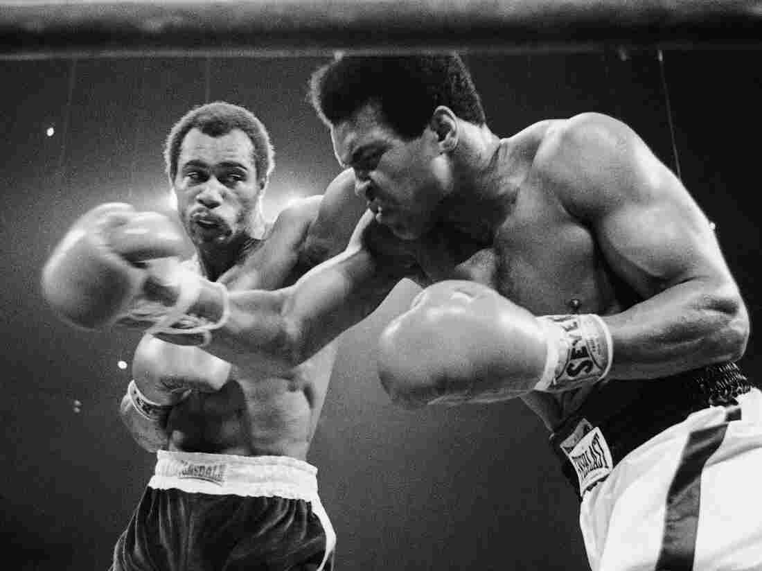 Muhammad Ali, right, winces as Ken Norton hits him with a left to the head in their scheduled 12-round re-match, Sept. 10, 1973 at the Forum in Inglewood, California.