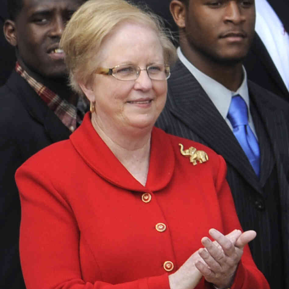 Judy Bonner, the University of Alabama's new president, when the school's championship football team visited the White