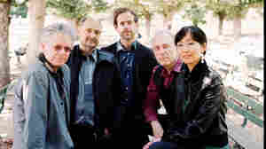 Bryce Dessner with the Kronos Quartet: David Harrington, John Sherba, Hank Dutt, and Sunny Jungin Yang.
