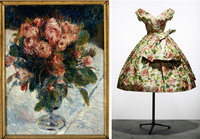 Auguste Renoir's 1890 oil on canvas Roses mousseuses, and Dior's 1956 Rose de France afternoon dress in taffeta with colored rose print.