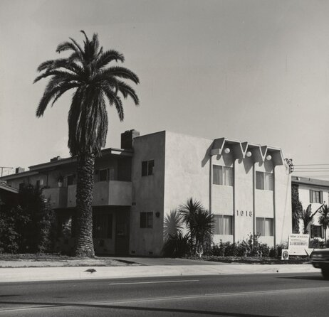 Ruscha published numerous artist books in the 1960s and '70s, most of them focused on mundane aspects of the urban landscape. Shown here: 1018 S. Atlantic Blvd, an image from Some Los Angeles Apartments, published in 1965.