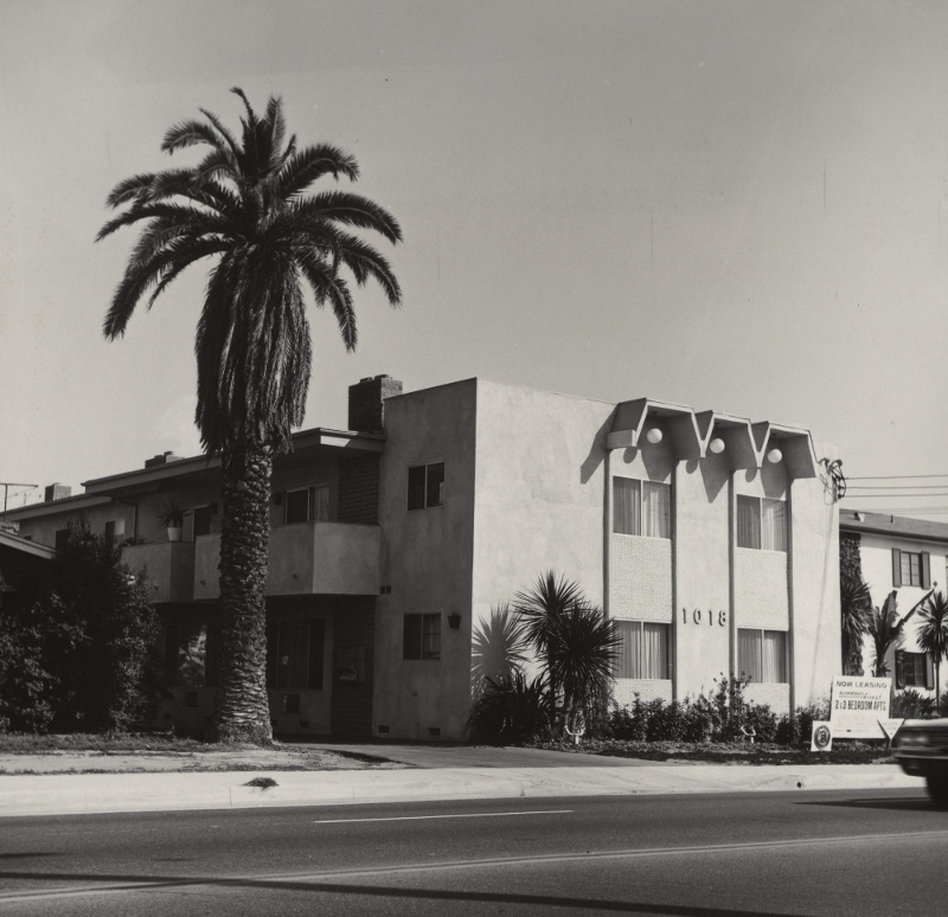 Ruscha published numerous artist books in the 1960s and '70s, most of them focused on mundane aspects of the urban landscape. Shown here: 1018 S. Atlantic Blvd, an image from Some Los Angeles Apartments, published in 1965. (Courtesy of the J.Paul Getty Museum, Los Angeles)