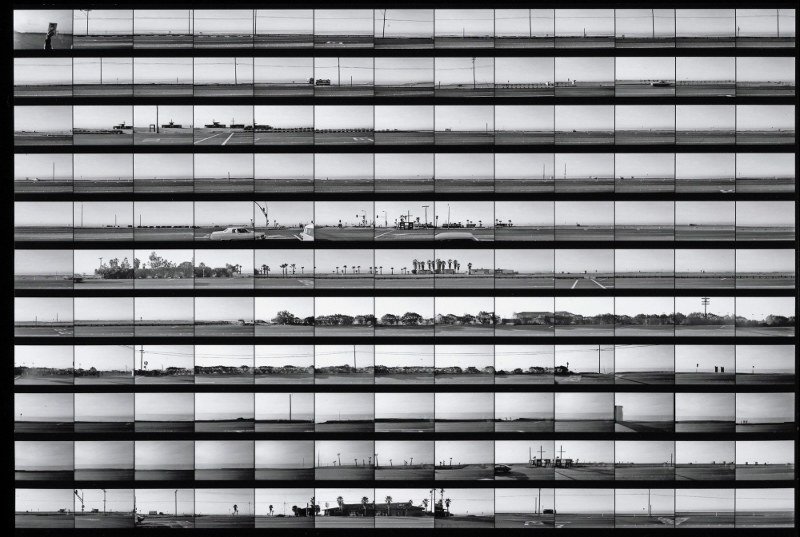 The Getty Museum's exhibit includes rarely seen contact sheets from Ruscha'��s photographic archive, including this continuous take of the Pacific Coast Highway, from 1974-75.