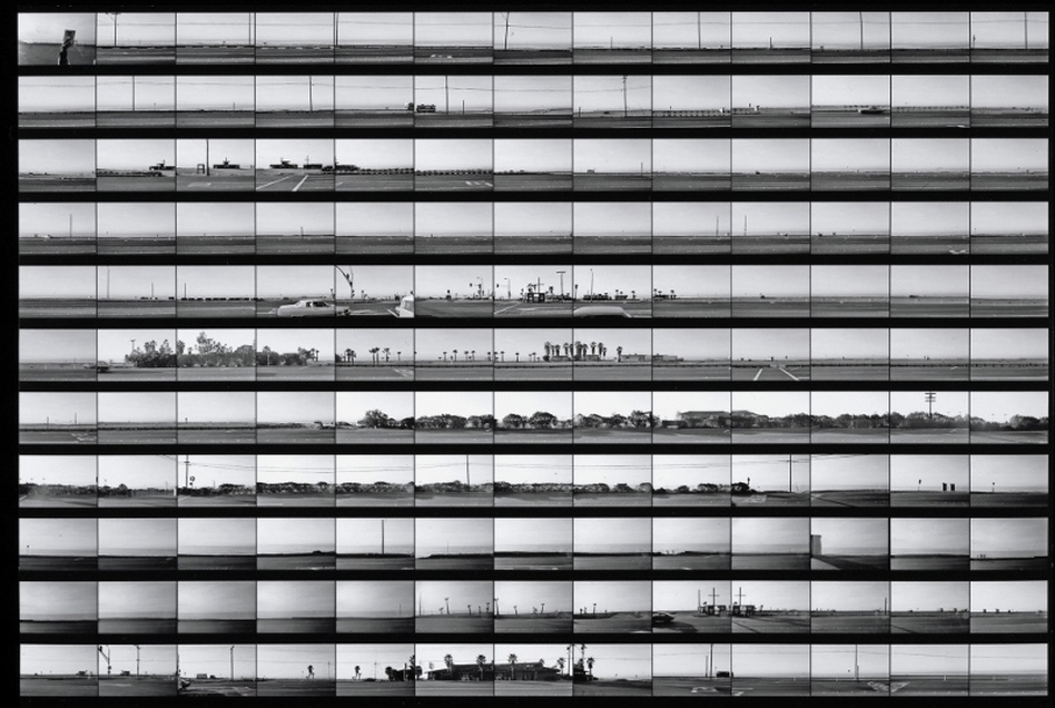 The Getty Museum's exhibit includes rarely seen contact sheets from Ruscha'€™s photographic archive, including this continuous take of the Pacific Coast Highway, from 1974-75. (Courtesy of the Getty Research Institute, Los Angeles)