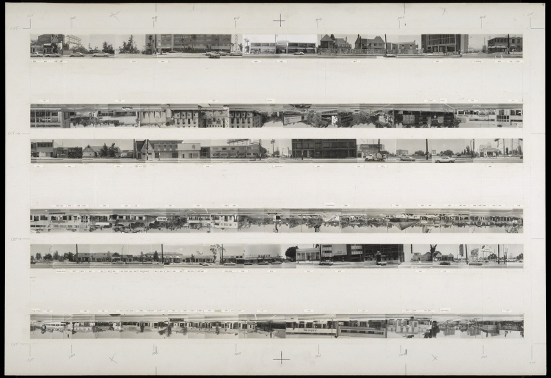 The Getty currently holds the archive for all of Ruscha'��s Los Angeles street shoots (his negatives are estimated to number in the millions), including this hand-made mock-up of his iconic 1966 book, Every Building on the Sunset Strip.