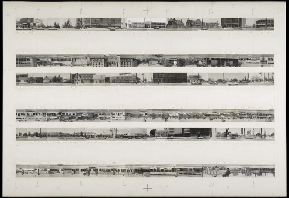 The Getty currently holds the archive for all of Ruscha'€™s Los Angeles street shoots (his negatives are estimated to number in the millions), including this hand-made mock-up of his iconic 1966 book, Every Building on the Sunset Strip. (Courtesy of the Getty Research Institute, Los Angeles)