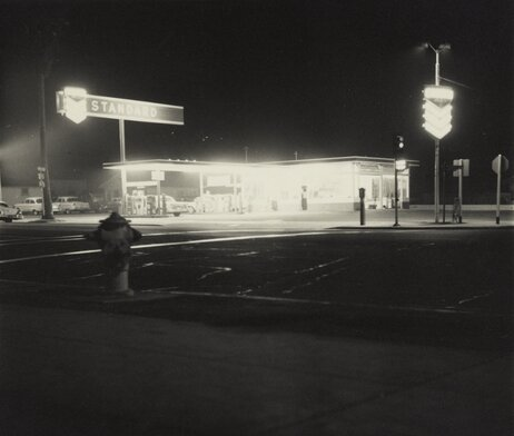 Another image from Twentysix Gasoline Stations: œStandard, Figueroa Street, Los Angeles, taken in 1962. The humble gas station also made an appearance in Ruscha's painted works.
