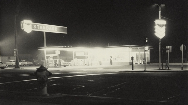 Another image from Twentysix Gasoline Stations: œStandard, Figueroa Street, Los Angeles, taken in 1962. The humble gas station also made an appearance in Ruscha's painted works. (Courtesy of the J. Paul Getty Museum, Los Angeles)