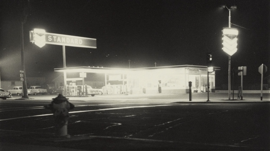 Another image from Twentysix Gasoline Stations: œStandard, Figueroa Street, Los Angeles, taken in 1962. The humble gas station also made an appearance in Ruscha's painted works. (Courtesy of the J. Paul Getty Museum, Los Angeles)