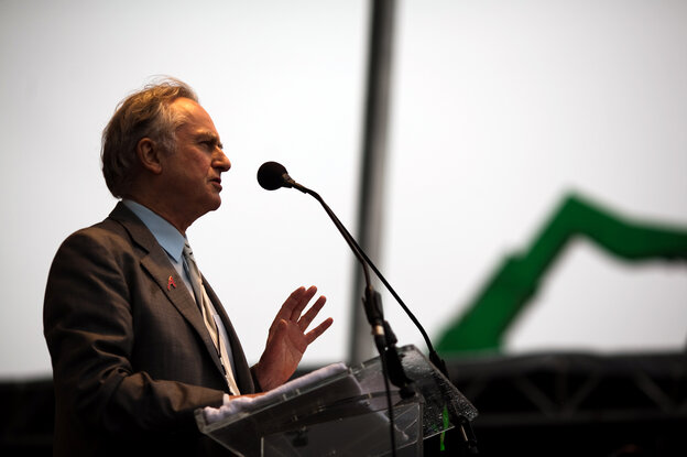 """Richard Dawkins, founder of The Richard Dawkins Foundation for Reason and Science, speaks at the March 2012 """"Reason Rally"""" on the National Mall in Washington, D.C."""