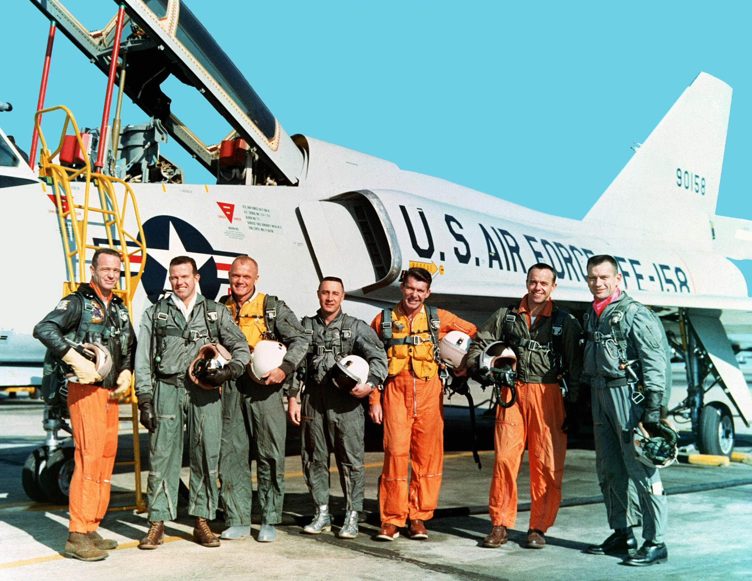 "The original seven Mercury astronauts during a training mission at NASA Langley Research Center, in March 1961. From left: Scott Carpenter, Gordon Cooper, John Glenn, Virgil ""Gus"" Grissom, Walter Schirra, Alan Shepard, and Donald ""Deke"" Slayton."