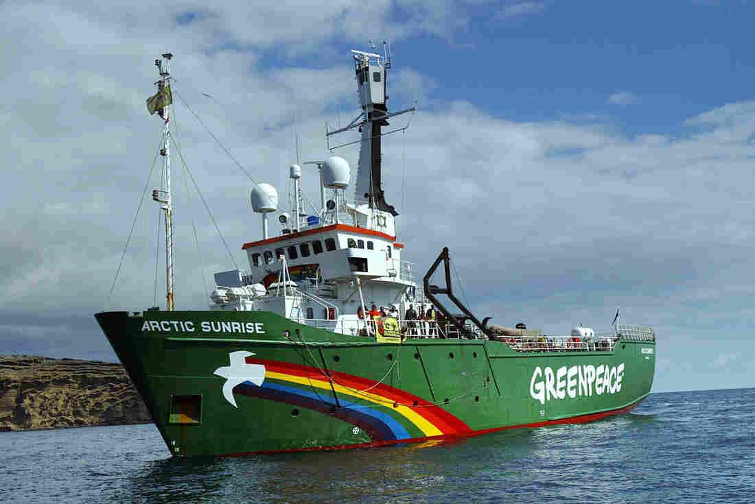"Greenpeace's ship the ""Arctic Sunrise"" in 2005."