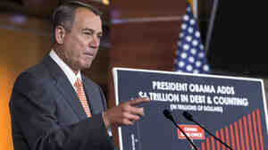 House Speaker John Boehner, R-Ohio, talks about the deadline to fund the government Thursday on Capitol Hill.