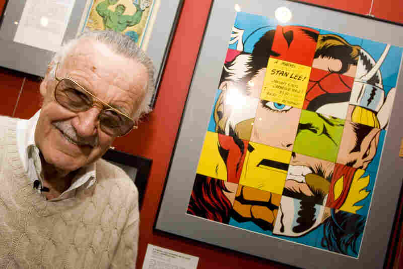 "Comic book legend Stan Lee poses at the opening reception for ""Stan Lee: A Retrospective"" presented by the Museum of Comic and Cartoon Art on Feb. 23, 2007, in New York City."