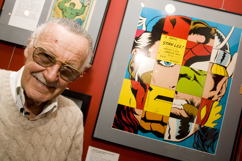 """Comic book legend Stan Lee poses at the opening reception for """"Stan Lee: A Retrospective"""" presented by the Museum of Comic and Cartoon Art on Feb. 23, 2007 in New York City."""