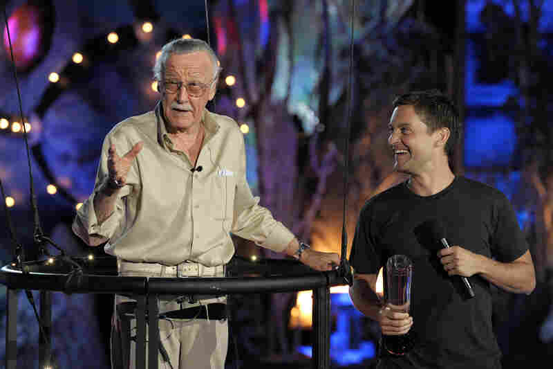 Lee accepts the Comic-Con Icon award onstage from actor Tobey Maguire during Spike TV's Scream 2009 held at the Greek Theatre on Oct. 17, 2009, in Los Angeles.