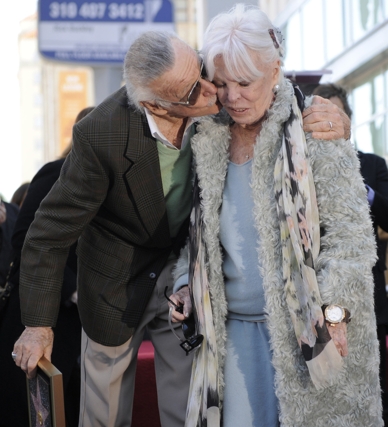 Stan Lee gives his wife Joan a kiss after he received a star on the Hollywood Walk of Fame in Los Angeles, Jan. 4, 2011. Joan Lee died in 2017.