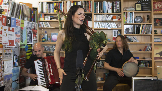 Cristina Pato Trio performs a Tiny Desk Concert in June 2013. (NPR)