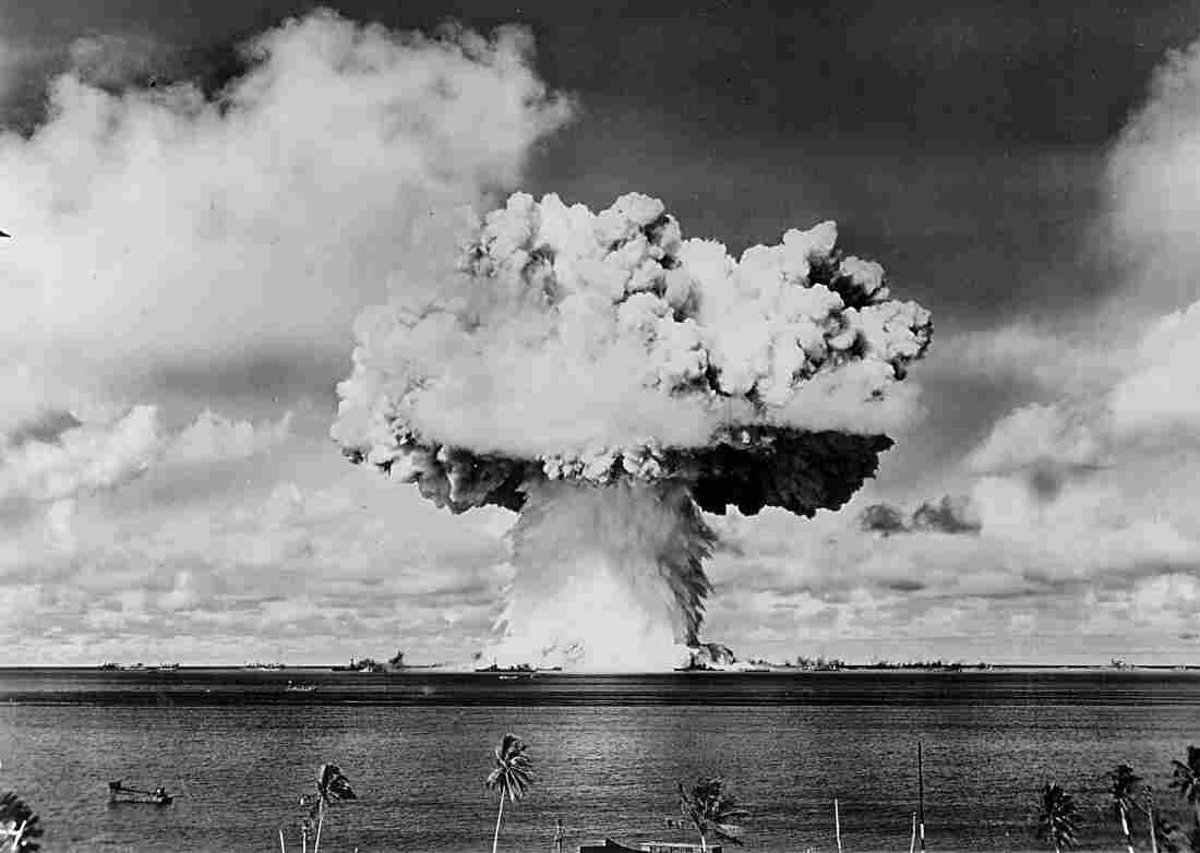 """An atomic cloud rises July 25, 1946 during the """"Baker Day"""" blast at Bikini Island in the Pacific."""