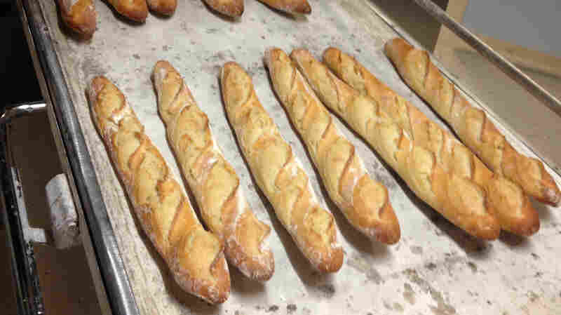 Traditionally baked baguettes are caramel-colored and crispy.