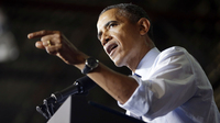President Obama gestures as he speaks to workers at the Ford Kansas City Stamping Plant in Liberty, Mo., on Friday.