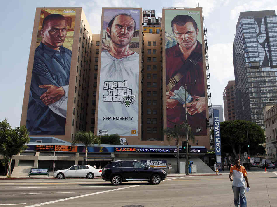 A billboard at the Figueroa Hotel in Los Angeles advertises Grand Theft Auto V, released this week.