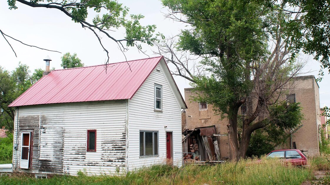 Craig Cobb's house on Main Street in Leith, N.D., where he spends his days posting online comments advocating for white supremacists to join his settlement. Cobb, a self-described white supremacist, has invited fellow white separatists to help him transform the town into a white enclave.