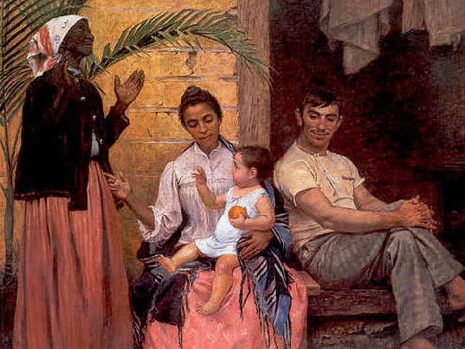 "The painting ""The Redemption of Ham"" by Modesto Brocos features a black grandmother, mixed-race mother, white father and white baby. The grandmother sta"