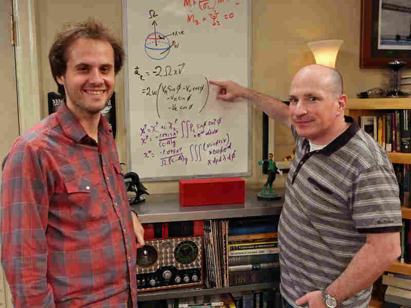 "David Saltzberg (right) hosts his ""Geek of the Week,"" UCLA student Andrew Peck, on the set of The Big Bang Theory."