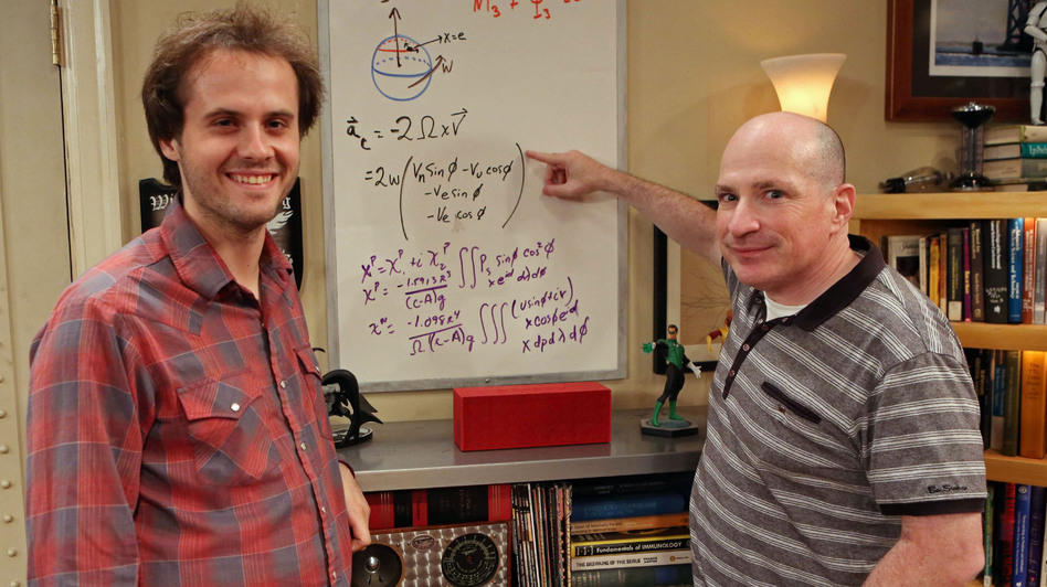 """David Saltzberg (right) hosts his """"Geek of the Week,"""" UCLA student Andrew Peck, on the set of The Big Bang Theory. (Warner Bros.)"""