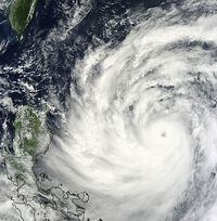 In this NASA image released Thursday, Typhoon Usagi is seen nearing Taiwan and the Philippines.