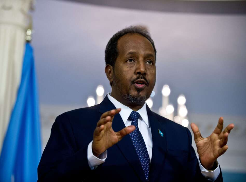 Somali President Hassan Sheikh Mohamud speaks to the press prior to talks at the U.S. State Department on Friday.