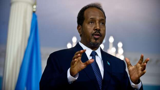 Somali President Hassan Sheikh Mohamud speaks to the press prior to talks at the U.S. State Department on Friday. (AFP/Getty Images)