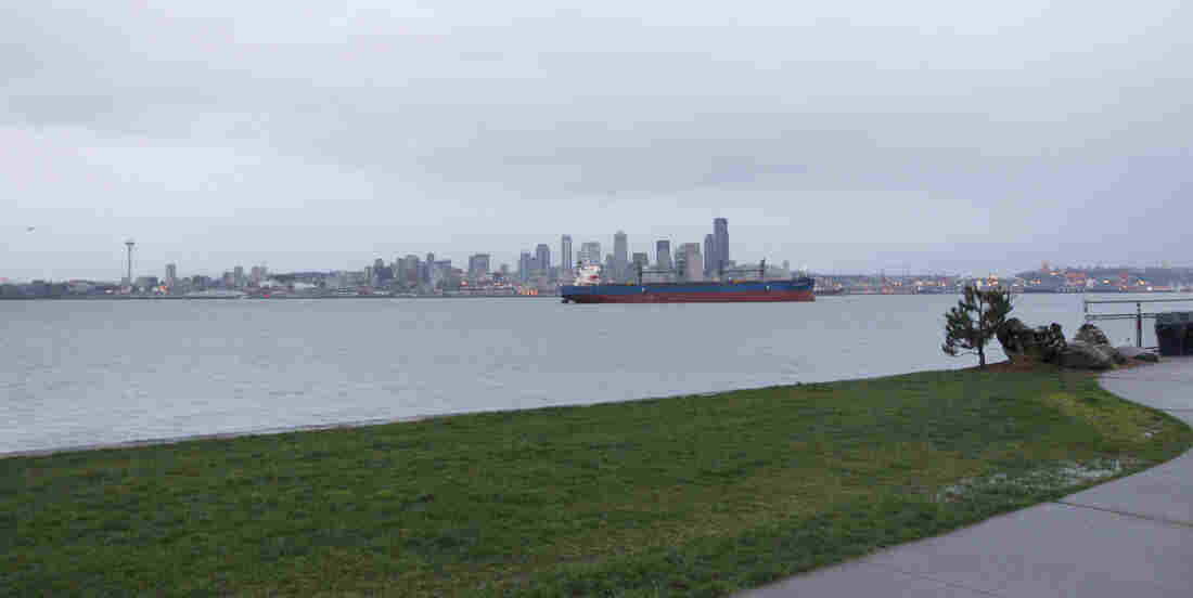 Puget Sound at Alki Beach waterfront neighorhood in Seattle.