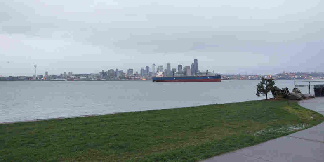 Puget Sound at Alki Beach waterfront neighorhood in Seattle.
