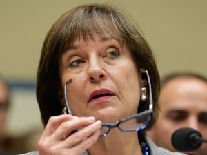 Lois Lerner, the head of the IRS division that handles applications for tax-exempt status, listens to opening statements during a hearing before the House Oversight and Government Reform Committee before refusing to testify on May 22.