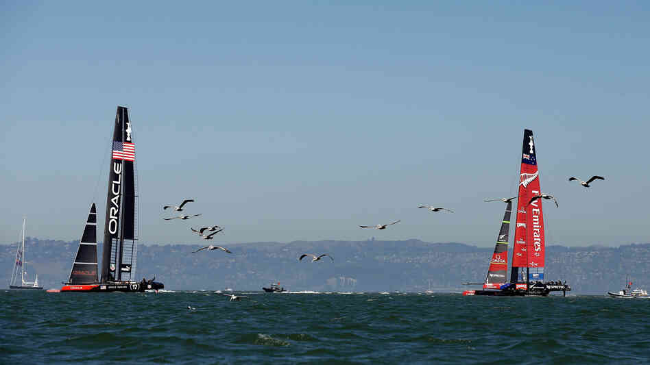 Defenders Oracle Team USA was out ahead of Emirates Team New Zealand in Race 12 of the America's Cup Finals on Thursday.