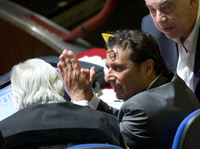 Captain Francesco Schettino talks to his lawyer during a pause his trial, in Grosseto, Italy, on Monday.