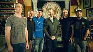 Pearl Jam with writer and director Judd Apatow (third from right).